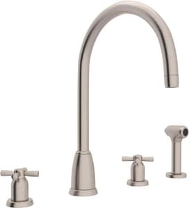 ROHL® Perrin & Rowe® 4-Hole Double Cross Handle Column Spout Kitchen Faucet with Sidespray in Satin Nickel RU4890XSTN2