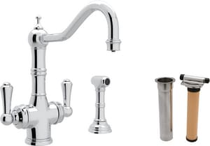 ROHL® Perrin & Rowe® 1-Hole Deckmount Kitchen Faucet with Double Lever Handle and 9 in. Spout Reach in Polished Chrome RUKIT1570LSAPC2