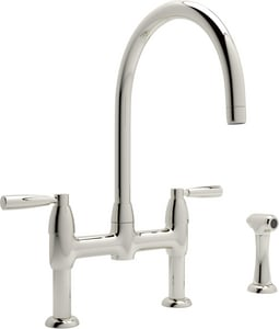 ROHL® Perrin & Rowe® Two Handle Bridge Kitchen Faucet in Polished Nickel RU4273LSPN2