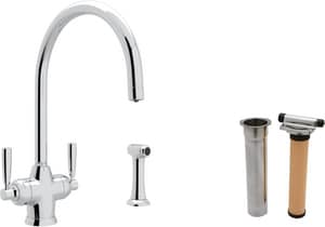 ROHL® Perrin & Rowe® 1-Hole Deckmount Kitchen Faucet with Double Lever Handle and Sidespray in Polished Chrome RUKIT1535LSAPC2