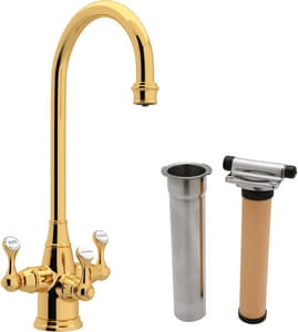 ROHL® Perrin & Rowe® 1-Hole Triple Lever Handle Column Spout Deckmount Bar Faucet in Inca Brass RUKIT1220LSIB2