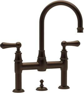 ROHL® Perrin & Rowe® Deckmount Widespread Bathroom Sink Faucet with Double Metal Lever Handle in English Bronze RU3708LSEB2