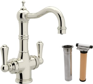 ROHL® Perrin & Rowe® 1-Hole Deckmount Bar Faucet with Metal Double Lever Handle in Polished Nickel RUKIT1469LSPN2