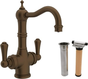 ROHL® Perrin & Rowe® 1-Hole Deckmount Bar Faucet with Metal Double Lever Handle in English Bronze RUKIT1469LSEB2