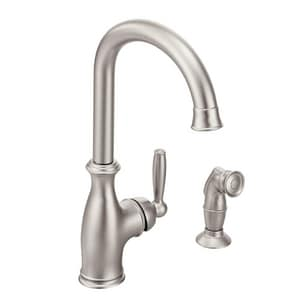 Moen Brantford™ 1.5 gpm 1 or 2 Hole Deck Mount Kitchen Faucet with Single Lever Handle and Side Spray in Spot Resist Stainless M7735SRS