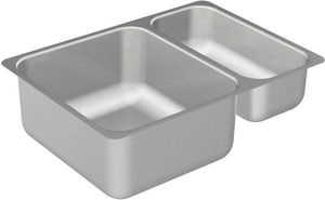 Moen 2000 Series 24-3/4 x 18 in. No Hole Stainless Steel Double Bowl Undermount Kitchen Sink in Matte Stainless Steel MG20273