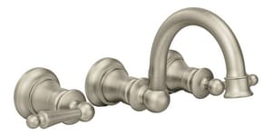 Moen Waterhill™ 1.5 gpm 3-Hole Double Lever Handle Wall Mount Lavatory Faucet in Brushed Nickel MTS416BN