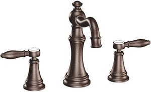 Moen Weymouth™ Two Handle Widespread Bathroom Sink Faucet in Oil Rubbed Bronze MTS42108ORB