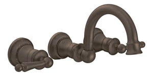 Moen Waterhill™ 1.5 gpm 3-Hole Double Lever Handle Wall Mount Lavatory Faucet in Oil Rubbed Bronze MTS416ORB