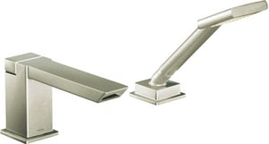 Moen 90 Degree™ Roman Tub Trim Only with Single-Handle and Hand Shower in Brushed Nickel MTS9041BN