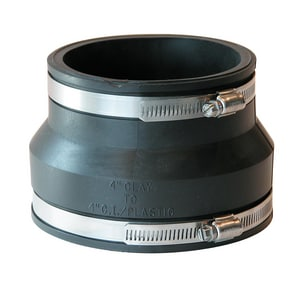 Fernco 4 in. Clay x Cast Iron and Plastic Flexible Coupling F100244WC at Pollardwater