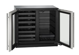 U-Line 7 cf Built-In Beverage Center with Wine Storage in Stainless Steel UU3036BVWCS00A