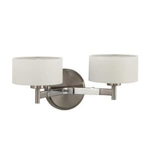 Park Harbor® Highfield 60W 7 in. 2-Light G9 Double Loop Wall Sconce in Brushed Nickel/Chrome PHWL3172BNPC