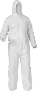 Kimberly Clark M Size Microporous and Fabric Coverall with Hood, Front Zip and Elastic Wrist and Ankle K3893 at Pollardwater