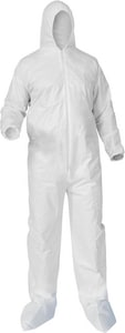 Kimberly Clark KleenGuard® XL Size Microporous and Fabric Coverall with Hood, Front Zip, Elastic Wrist and Ankle and Boot K38951 at Pollardwater