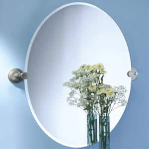 Gatco Marina 19-1/2 x 26-1/2 in. Brass Wall Mount Oval Frameless Mirror in Satin Nickel G5859