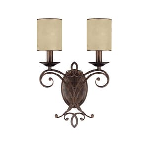 Capital Lighting Fixture Reserve 2-Light Wall Sconce in Rustic with Moonlit Mica Glass Shade C1116RT510