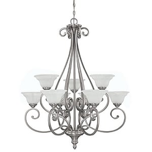 Capital Lighting Fixture Chandler 60W 9-Light Medium Incandescent Chandelier in Matte Nickel with White Faux Alabaster Glass Shade C3079MN222