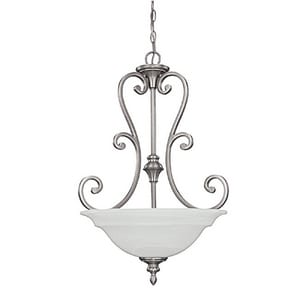 Capital Lighting Fixture Chandler 29-1/2 in. 100W 3-Light Pendant Fixture in Matte Nickel with White Faux Alabaster Glass Shade C3076MN