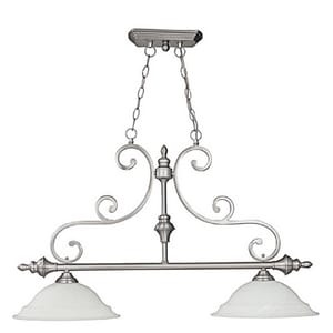 Capital Lighting Fixture Chandler 23-1/2 in. 100W 2-Light Island Fixture in Matte Nickel with White Faux Alabaster Glass Shade C3077MN