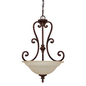 Capital Lighting Fixture Chandler 29-1/2 in. 100W 3-Light Pendant Fixture in Burnished Bronze with Mist Scavo Glass Shade C3076BB