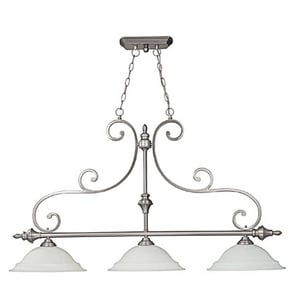 Capital Lighting Fixture Chandler 28 in. 100W 3-Light Island Fixture in Matte Nickel with White Faux Alabaster Glass Shade C3078MN