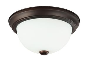 Capital Lighting Fixture 5 x 11 in. 2-Light Ceiling Fixture in Burnished Bronze with Soft White Glass Shade C2761BB