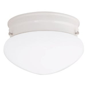Capital Lighting Fixture 5 x 9 in. 60 W 2-Light Medium Flush Mount Ceiling Fixture with White Glass in White C5358