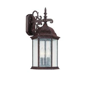 Capital Lighting Fixture Main Street 19 in. 60W 3-Light Outdoor Wall Lantern in New Tortoise C9834