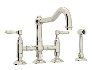 ROHL® Perrin & Rowe® Country Kitchen Two Handle Bridge Kitchen Faucet in Polished Nickel RA1458LMWSPN2