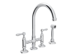 ROHL® Perrin & Rowe® Country Kitchen Two Handle Bridge Kitchen Faucet in Polished Chrome RA1461LMWSAPC2