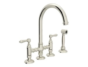 ROHL® Perrin & Rowe® Country Kitchen Two Handle Bridge Kitchen Faucet in Polished Nickel RA1461LMWSPN2