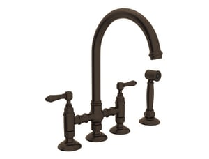 ROHL® Perrin & Rowe® Country Kitchen Two Handle Bridge Kitchen Faucet in Tuscan Brass RA1461LMWSTCB2