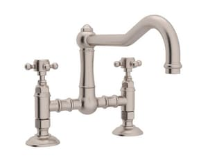 ROHL® Italian Country Kitchen 2-Hole Deckmount Bridge Kitchen Faucet with Double Cross Handle in Satin Nickel RA1459XMSTN2