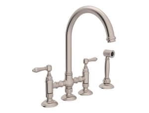 ROHL® Perrin & Rowe® Country Kitchen Two Handle Bridge Kitchen Faucet in Satin Nickel RA1461LMWSSTN2