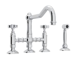 ROHL® Perrin & Rowe® Country Kitchen Two Handle Bridge Kitchen Faucet in Polished Chrome RA1458XWS2