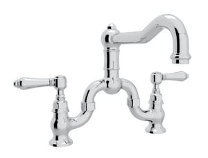 ROHL® Italian Country Kitchen Bridge Kitchen Faucet with Double Lever Handle in Polished Chrome RA1420LMAPC2