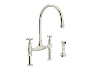 ROHL® Perrin & Rowe® Two Handle Bridge Kitchen Faucet in Polished Nickel RU4718XPN2