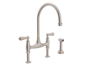 ROHL® Perrin & Rowe® Two Handle Bridge Kitchen Faucet in Satin Nickel RU4719LSTN2