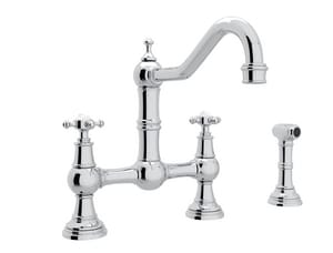 ROHL® Perrin & Rowe® Two Handle Bridge Kitchen Faucet in Polished Chrome RU4755X2