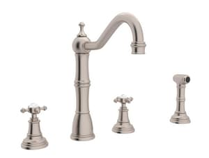 ROHL® Perrin & Rowe® Kitchen Faucet with Double Cross Handle in Satin Nickel RU4775X2