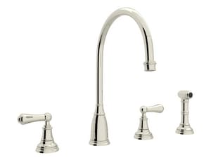 ROHL® Perrin & Rowe® 4-Hole Column Spout Kitchen Faucet with Double Lever Handle in Polished Nickel RU4736LPN2