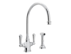 ROHL® Perrin & Rowe® 1.8 gpm 1-Hole Double Lever Handle Kitchen Faucet with Sidespray in Polished Chrome RU47102