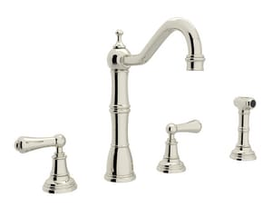 ROHL® Perrin & Rowe® 1.5 gpm 4-Hole Double Lever Handle Kitchen Faucet in Polished Nickel RU4776LPN2