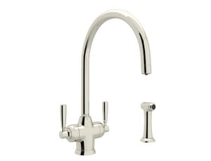 ROHL® Perrin & Rowe® 2-Hole Kitchen Faucet with Double Lever Handle Column Spout and Sidespray in Polished Nickel RU1535LS2