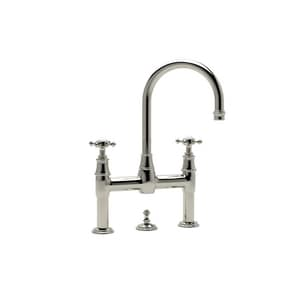 ROHL® Perrin & Rowe® 2-Hole Deckmount Bridge Lavatory Faucet with Double Cross Handle in Polished Nickel RU3709XPN2