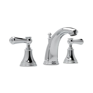 ROHL® Perrin & Rowe® 3-Hole Deckmount Widespread Lavatory Faucet with Double Metal and Porcelain Lever Handle in Polished Chrome RU3712LSP2