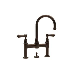 ROHL® Perrin & Rowe® 2-Hole Deckmount Widespread Lavatory Faucet with Double Metal and Porcelain Lever Handle in English Bronze RU3708LSPEB2