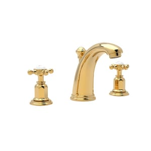 ROHL® Perrin & Rowe® 1.2 gpm 3-Hole Widespread Lavatory Faucet with Double Cross Handle and 4-1/2 in. Spout Reach in Inca Brass RU3761XIB2