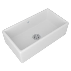 ROHL® Shaw's Original 33 x 18 in. No Hole Fireclay Single Bowl Apron Front Kitchen Sink in White RRC3318WH